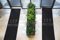 entry divider | Lobby Entry with living plant divider  consider adding a planter and removing spindles