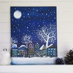 Beautiful winter painting. Great as Christmas decoration. Acrylic paint on canvas board. #christmas #xmas #xmas2015 #winter #christmasdecorations #painting #snow #pretty #cityscape #Christmasart Available link in bio.