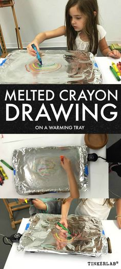 STEAM art project: Create melted crayon drawings on a warming tray or use a heating pad with a cookie sheet. Art Activities For Kids, Preschool Art, Art For Kids, Steam Activities, Toddler Activities, Arts And Crafts Projects, Projects For Kids, Crafts For Kids, Children Crafts