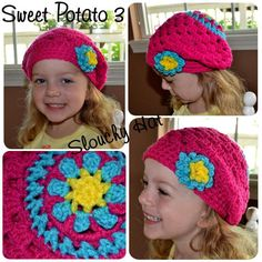 Slouchy Hat with Brim / Flower Option  pattern on Craftsy.com