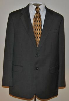 Stafford Sport Coat 44 L Mens Blazer Gray Tweed Two Button 100% Wool Single Vent #Stafford #TwoButton  free shipping auction starting at$10.99