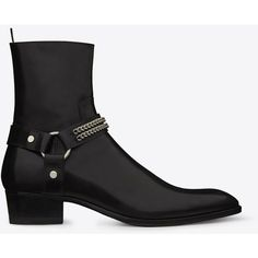 Saint Laurent Classic Wyatt Chain Harness Boot ($1,590) ❤ liked on Polyvore featuring men's fashion, men's shoes, men's boots, mens zipper boots, mens zip boots, mens harness boots, yves saint laurent mens boots and yves saint laurent mens shoes