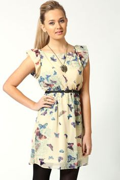Tracey Butterfly Print Belted Skater Dress from Boohoo.com $40.00 The dress on the website is way better than this picture.
