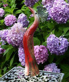 Keramik - Gartenkeramik kleiner PARADIESVOGEL, rot - ein Designerstück von Brigitte_Peglow bei DaWanda