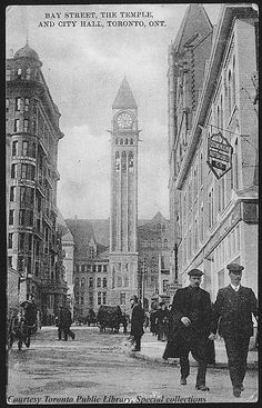 Bay Street, the Temple, and City Hall, Toronto, 1910 Toronto Ontario Canada, Toronto City, Toronto Skyline, Ask The Dust, Nostalgia, Canadian History, Largest Countries, Old Pictures, Historical Photos