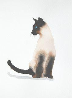 Katze Siamese Aquarell Kleinformat Original