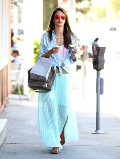 Alessandra Ambrosio colored the streets of Brentwood, CA, in a minty pleated maxi skirt, a chambray Sam