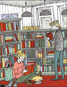 Love at the bookstore Young Couples, Pencil, Scene, Graphic Design, Texture, Comics, Reading, City, Digital