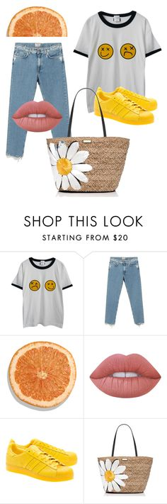 Yellow juicy summer by minglestyle-gr on Polyvore featuring Chicnova Fashion, Acne Studios, adidas Originals, Kate Spade and Lime Crime