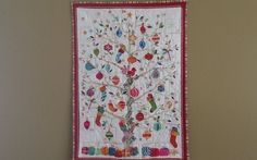 Quilted Advent calendar wall hanging embellished with by djwquilts
