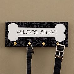 Dog Stuff Personalized Plaque With Hooks - Pet Gifts - Pet Gifts. Will try to DIY