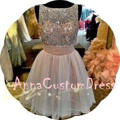 159.00$  Buy now - http://vibct.justgood.pw/vig/item.php?t=894ach13356 - Scoop Short Light Champagne Beaded V-back Tulle Homecoming Dress, H5027 159.00$