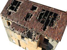 bottega dei plastici_138 come realizzare un tetto diroccato in cartoncino