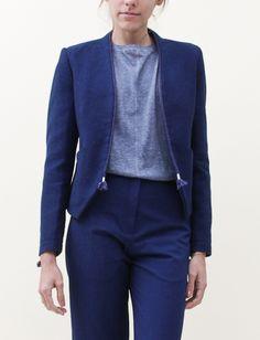 Folk Tux Jacket- Indigo