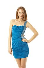 Super glam one-shoulder dress features beaded-trim cutout at the left hip. To really shine, pair with sparkly silver heels.Comes in Black, Blue and White colors.Details:- Polyester/Spandex- Hand Wash Cold Water- Imported