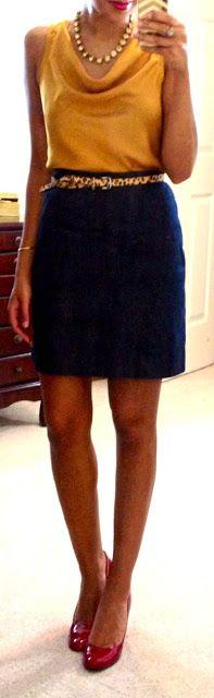 Blue pencil skirt/ yellow blouse leopard skinny belt! .. Cute!
