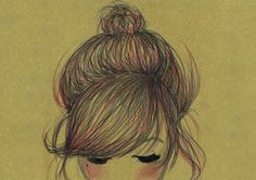 Fashion Illustration print, girl with red hair in a bun on brown paper background. A4.. £20.00, via Etsy.