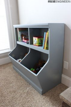 Bookcase with Toy Storage & Rustic Toy Storage Unit Build Plans | Pinterest | Rustic toys Toy ...