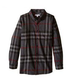 Burberry Kids Mini Fred Pocket Shirt (Little Kids/Big Kids) (Charcoal) Boy's Clothing