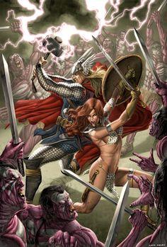 Thor & Red Sonja by Caio Cacau