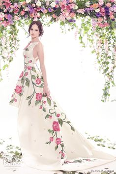 fadwa baalbaki spring 2016 couture jewel neck ball gown multi color floral print mv