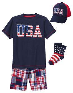 Gymboree Boy Red White & Cute Patriotic Plaid Outfit