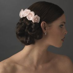 Charming Pink Rose Flower Wedding Bridal Special Occasion Hair Comb -- Read more  at the image link.
