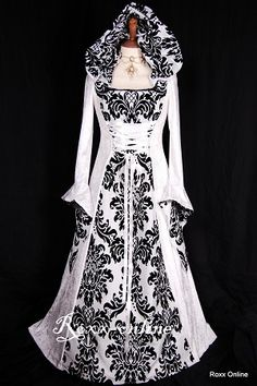 I have died and gone to heaven!  This is beautiful!  White hooded dress medieval style sleeves