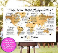 Wedding Seating Chart - RUSH SERVICE - Gold World Map Plane Travel Theme Reception Poster - Digital Printable File HbC135b