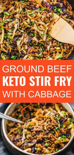 This is a super fast and easy stir fry dinner with ground beef cabbage carrots and scallions. This is a super fast and easy stir fry dinner with ground beef cabbage carrots and scallions. Ground Beef Keto Recipes, Ground Beef Recipes For Dinner, Dinner With Ground Beef, Easy Ground Beef Meals, Ground Beef Stir Fry, Recipes Dinner, Dessert Recipes, Cabbage And Beef, Cabbage Recipes