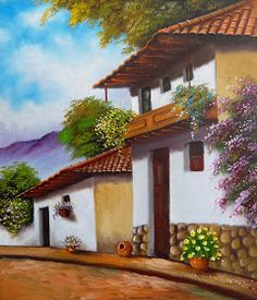 (notitle) – Seval TÜRKKAN – Join the world of pin Mexican Artwork, Mexican Paintings, Landscape Artwork, Landscape Pictures, Pictures To Paint, Beautiful Paintings, Painting Inspiration, Architecture Art, Watercolor Art
