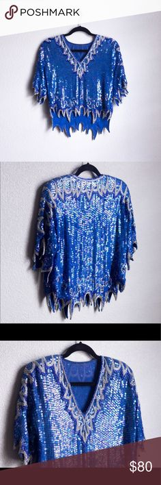 """Vintage Sequin Beaded Royal Blue Sparkly Shiny Top Vintage Sequin Beaded Royal Blue Sparkly Shiny Icy Top 90s   Size: Small (Women's) (21"""" from top to bottom)   Condition: Pre-owned (Excellent, amazing condition! Flawless! Please see photos) Tops"""