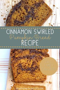 This cinnamon swirled pumpkin bread is going to become a fall favorite recipe that you just won't want to share. If you love pumpkin season as much as I do, I bet that you already have some canned pumpkin at home you're just dying to use in a recipe. Give this pumpkin bread recipe a try and you won't regret it! Pumpkin Oatmeal Cookies, Pumpkin Spice Muffins, Pumpkin Waffles, Basic Butter Cookies Recipe, Moist Pumpkin Bread, Pumpkin Breakfast, Roasted Pumpkin Seeds, Cloud Bread, Canned Pumpkin