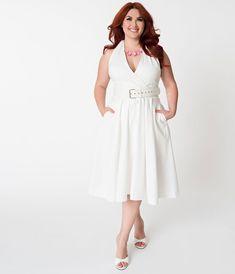 266c076095 Janie Bryant For Unique Vintage Plus Size 1950s White Halter Tarrytown  Hostess Dress