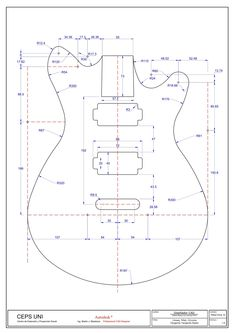 Drawing Autocad exam level i Mechanical Engineering Design, Mechanical Design, Guitar Drawing, Cad Drawing, Isometric Drawing Exercises, Guitar Diy, Geometric Drawing, Cnc Projects, Geometry Art
