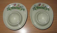 Set-Of-2-Vintage-Unmarked-Figgjo-Flint-Norway-Egg-Cups-Stacking-Floral