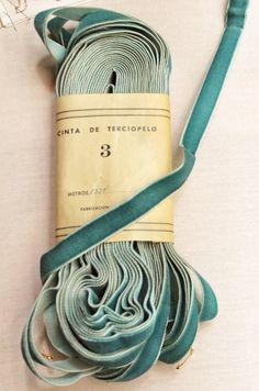 Perfect vintage teal velvet ribbon