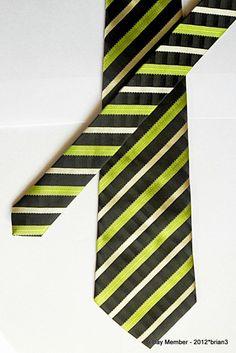 GIORGIO ARMANI 100% Silk Tie Black Main,With Green & Gold Woven Diagonal Stripes