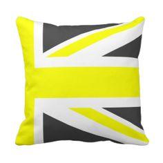 Dark Grey and Yellow Union Jack Half Throw Pillow Custom Cushions, Grey Cushions, Throw Cushions, Grey Yellow, Dark Grey, Decorative Throws, Union Jack, Quilts, Kitchen