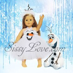 "Frozen Olaf Tutu Dress 18"" American Girl Isabelle Clothes Accessories Costume #SissyLove"