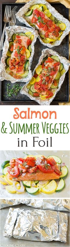 Healthy Motivation : Illustration Description Salmon and Summer Veggies in Foil – so easy to make, perfectly flavorful and clean up is a breeze! Whole family LOVED this salmon! -Read More – Salmon Recipes, Fish Recipes, Seafood Recipes, New Recipes, Dinner Recipes, Cooking Recipes, Healthy Recipes, Cooking Videos, Grilling Recipes
