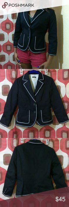 Sweet J Crew Jacket This is a fun, well tailored jacket. Features two front buttons and pockets with white trim, princess line cut in the back. Stylish and on trend. Thick and has weight to it. Texture feels like a jeans jacket. 100% cotton, fully lined. Like new. Offers welcome. J. Crew Jackets & Coats Blazers