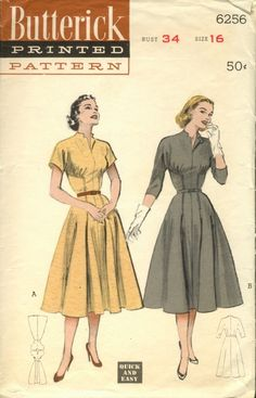 Interesting bodice cut and styling on this 1950s dress - Butterick 6256