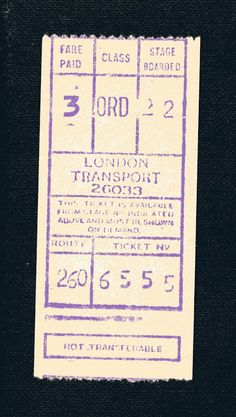 London bus ticket: fare paid - 3 old pence. Considered lucky if the numbers add up to London Bus, Old London, My Childhood Memories, Sweet Memories, 1970s Childhood, Routemaster, Ticket Design, London History, Bus Tickets