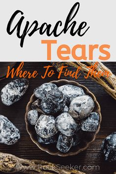 Great article describing exactly where to go to find apache tears. Great for rockhounds, gem collectors and crystal enthusiasts who want to know more about apache tears and where to find them. Minerals And Gemstones, Rocks And Minerals, Apache Tears Stones, Nevada California, Gem Hunt, Rock Tumbling, Rock Hunting, Rock Collection, Rocks And Gems