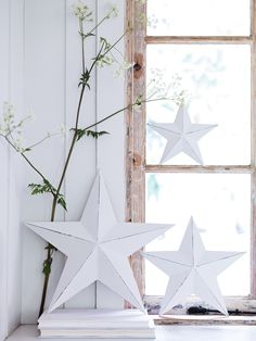 three light gesso stars