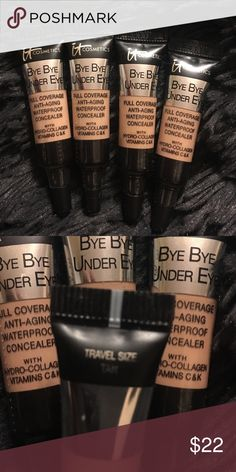 Travel size bye bye under eye bundle, tan ** please see photos for condition! Some products are brand new but some have minimal professional usage. Price is reflective of usage.** ** ALL my products are authentic!** **any questions please ask before you purchase** ** happy shopping and I hope you enjoy!** Makeup Concealer