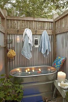 all seen plenty of outdoor showers. Here's a nifty open-air bathing idea for you tub types!We've all seen plenty of outdoor showers. Here's a nifty open-air bathing idea for you tub types! Outdoor Baths, Outdoor Bathrooms, Outdoor Rooms, Outdoor Living, Outdoor Showers, Outdoor Tub, Outside Showers, Bathrooms Decor, Outdoor Retreat