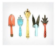 vintage garden tools. great color. used.