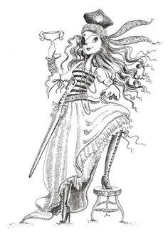 Erica Jane Waters Ilustración - erica aguas jane, ficción, comercial, tween, adolescente, adolescentes, blanco y negro, la línea de negro, en blanco y negro, la gente, las niñas, femenino, piratas, mujer, mujeres, capitán